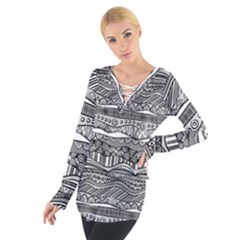 Ethno Seamless Pattern Tie Up Tee