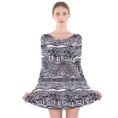 Ethno Seamless Pattern Long Sleeve Velvet Skater Dress