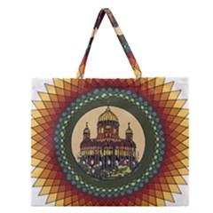 Building Mandala Palace Zipper Large Tote Bag
