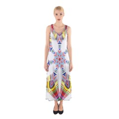 Colorful Chromatic Psychedelic Sleeveless Maxi Dress