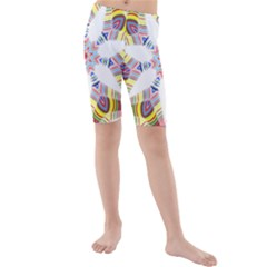Colorful Chromatic Psychedelic Kids  Mid Length Swim Shorts