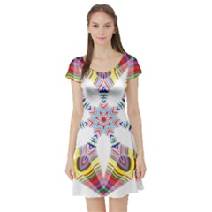 Colorful Chromatic Psychedelic Short Sleeve Skater Dress