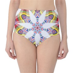 Colorful Chromatic Psychedelic High Waist Bikini Bottoms