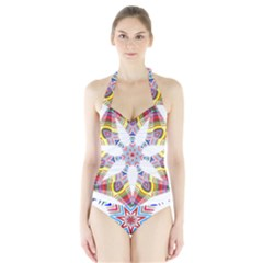 Colorful Chromatic Psychedelic Halter Swimsuit