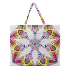 Colorful Chromatic Psychedelic Zipper Large Tote Bag