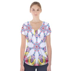 Colorful Chromatic Psychedelic Short Sleeve Front Detail Top