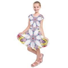 Colorful Chromatic Psychedelic Kids  Short Sleeve Dress