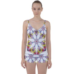 Colorful Chromatic Psychedelic Tie Front Two Piece Tankini