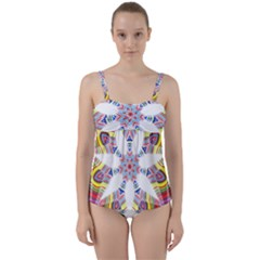 Colorful Chromatic Psychedelic Twist Front Tankini Set
