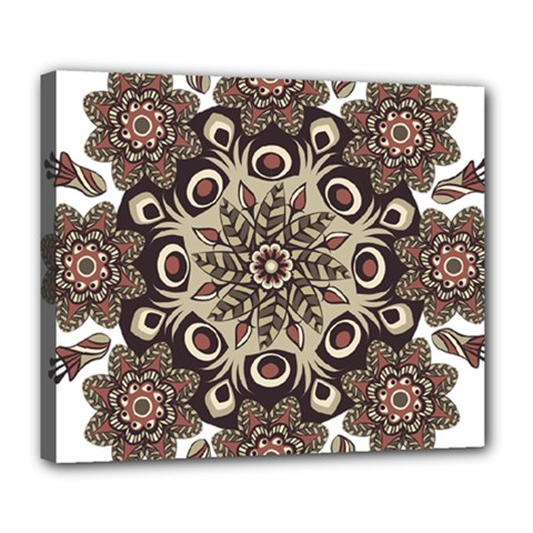 Mandala Pattern Round Brown Floral Deluxe Canvas 24  X 20