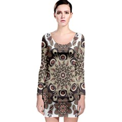 Mandala Pattern Round Brown Floral Long Sleeve Bodycon Dress