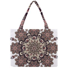Mandala Pattern Round Brown Floral Mini Tote Bag