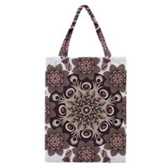 Mandala Pattern Round Brown Floral Classic Tote Bag