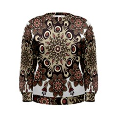 Mandala Pattern Round Brown Floral Women s Sweatshirt