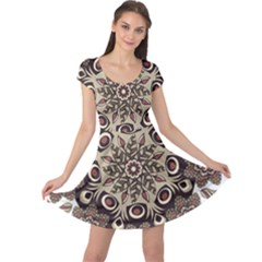 Mandala Pattern Round Brown Floral Cap Sleeve Dress
