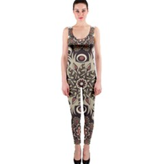 Mandala Pattern Round Brown Floral Onepiece Catsuit