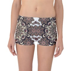 Mandala Pattern Round Brown Floral Boyleg Bikini Bottoms