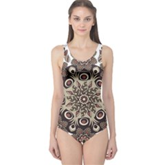 Mandala Pattern Round Brown Floral One Piece Swimsuit