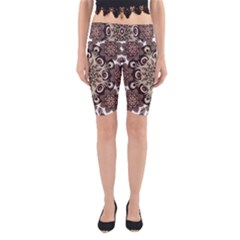 Mandala Pattern Round Brown Floral Yoga Cropped Leggings