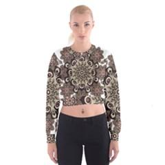 Mandala Pattern Round Brown Floral Cropped Sweatshirt