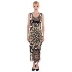 Mandala Pattern Round Brown Floral Fitted Maxi Dress