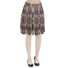 Mandala Pattern Round Brown Floral Pleated Skirt