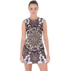 Mandala Pattern Round Brown Floral Lace Up Front Bodycon Dress