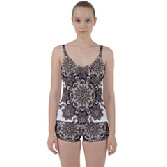 Mandala Pattern Round Brown Floral Tie Front Two Piece Tankini