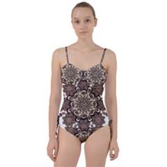 Mandala Pattern Round Brown Floral Sweetheart Tankini Set