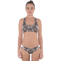 Mandala Pattern Round Brown Floral Cross Back Hipster Bikini Set