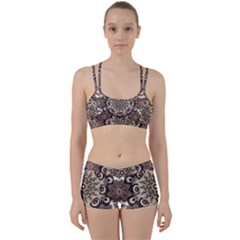 Mandala Pattern Round Brown Floral Women s Sports Set