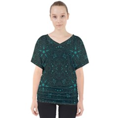 Majestic Pattern C V Neck Dolman Drape Top