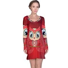 Cute Colorful  Owl, Mandala Design Long Sleeve Nightdress