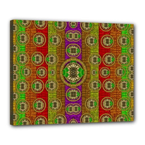 Rainbow Flowers In Heavy Metal And Paradise Namaste Style Canvas 20  X 16