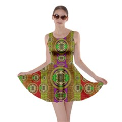 Rainbow Flowers In Heavy Metal And Paradise Namaste Style Skater Dress