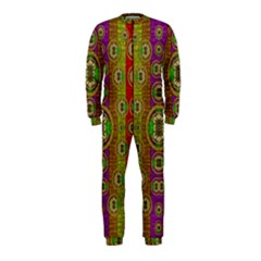 Rainbow Flowers In Heavy Metal And Paradise Namaste Style Onepiece Jumpsuit (kids)