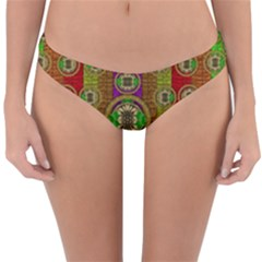 Rainbow Flowers In Heavy Metal And Paradise Namaste Style Reversible Hipster Bikini Bottoms