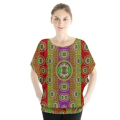 Rainbow Flowers In Heavy Metal And Paradise Namaste Style Blouse