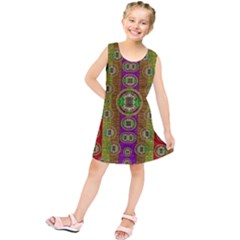 Rainbow Flowers In Heavy Metal And Paradise Namaste Style Kids  Tunic Dress
