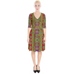 Rainbow Flowers In Heavy Metal And Paradise Namaste Style Wrap Up Cocktail Dress