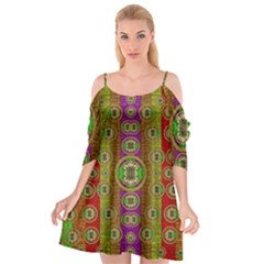 Rainbow Flowers In Heavy Metal And Paradise Namaste Style Cutout Spaghetti Strap Chiffon Dress