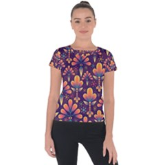 Floral Abstract Purple Pattern Short Sleeve Sports Top