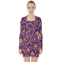 Floral Abstract Purple Pattern V Neck Bodycon Long Sleeve Dress