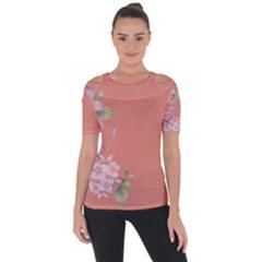 Flower Illustration Rose Floral Pattern Short Sleeve Top