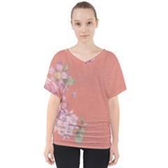 Flower Illustration Rose Floral Pattern V Neck Dolman Drape Top