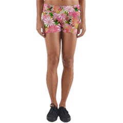 Pink Flowers Floral Pattern Yoga Shorts