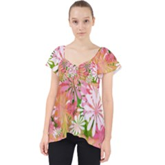 Pink Flowers Floral Pattern Dolly Top