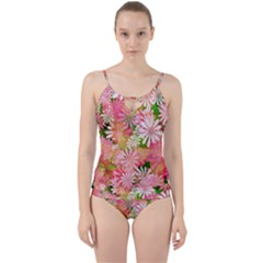 Pink Flowers Floral Pattern Cut Out Top Tankini Set