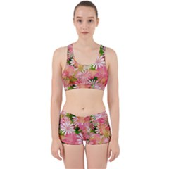 Pink Flowers Floral Pattern Work It Out Sports Bra Set