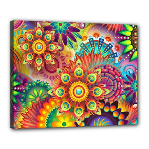 Colorful Abstract Pattern Kaleidoscope Canvas 20  X 16